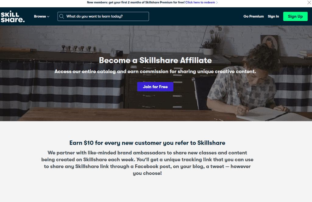 Skillshare - Best Affiliate Programs For Bloggers